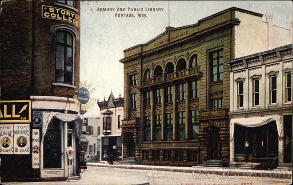 Exterior view of the Portage Library from 1902 to 1943